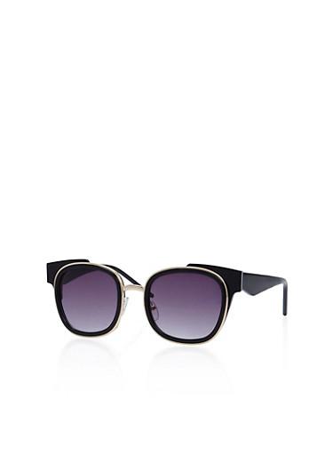 Double Frame Square Sunglasses,BLACK,large