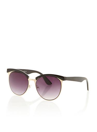 Round Browline Sunglasses,BLACK,large