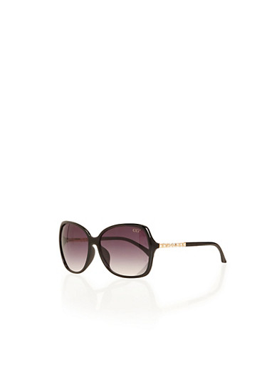 Square-Frame Sunglasses with Crystal Arm Accents,BLACK,large
