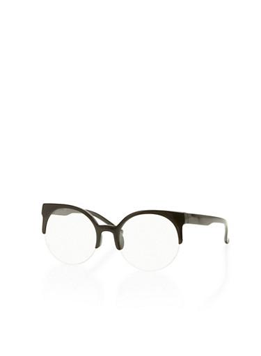 Round Browline Glasses,BLACK,large