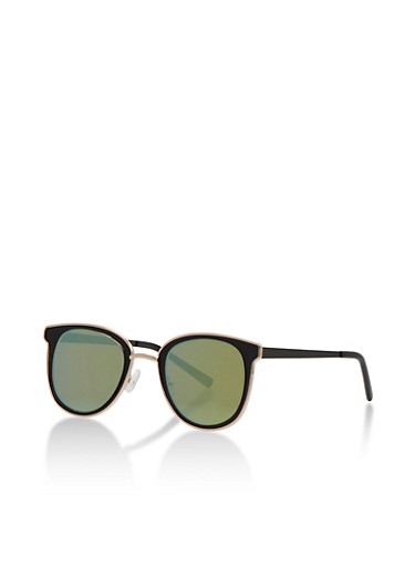 Flat Mirror Square Sunglasses,GREEN,large