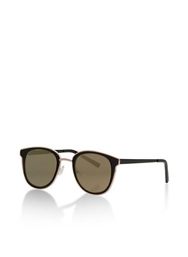 Flat Mirror Square Sunglasses,GOLD,large