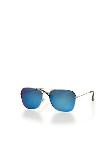 Metallic Square Frame Aviator Sunglasses,SILVER,large