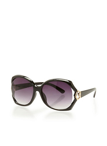 Oversized Open Side Sunglasses,BLACK,large