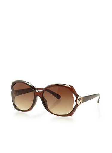Oversized Open Side Sunglasses,BROWN,large