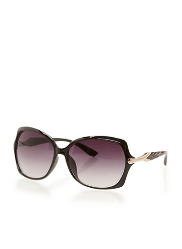 Square Sunglasses with Metal Accent,BLACK,large
