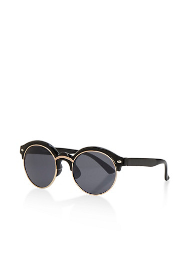 Round Double Top Frame Sunglasses,BLACK,large