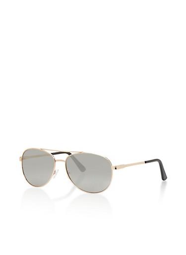 Metal Frame Aviator Sunglasses,SILVER,large