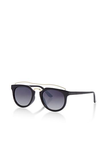 Round Metal Top Bar Sunglasses,BLACK,large