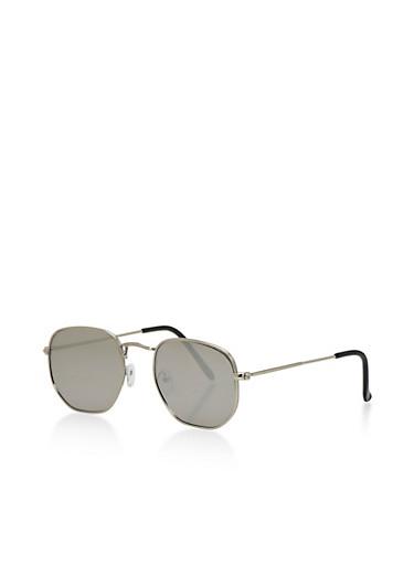 Geometric Aviator Sunglasses,SILVER,large