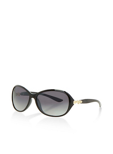 Plastic Frame Sunglasses with Side Detail,BLACK,large