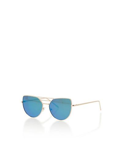 3 Bar Metallic Cat Eye Aviator Sunglasses,GOLD/GREEN,large
