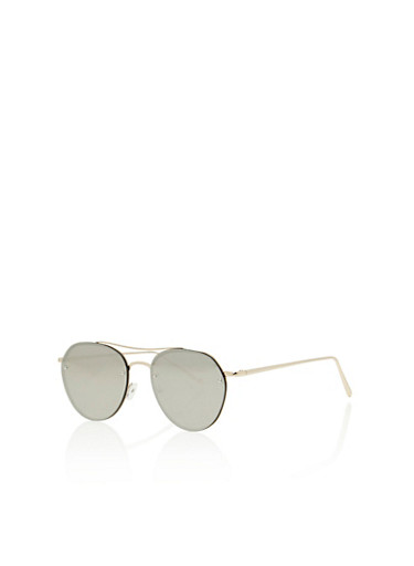 Flat Frame Top Bar Aviator Sunglasses,SILVER/GOLD,large