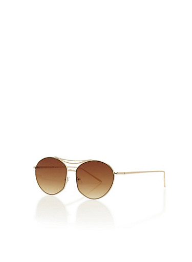 Split Top Bar Oval Aviator Sunglasses,BROWN/GOLD,large