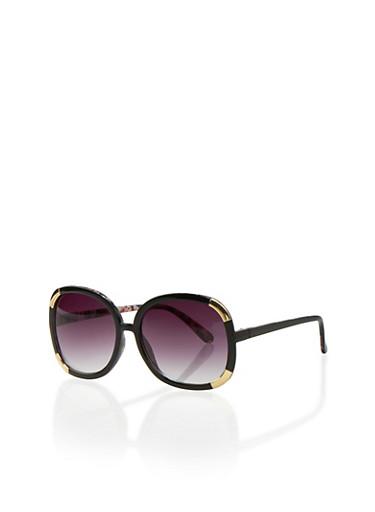 Oversized Round Sunglasses with Metallic Corners,BLACK/PINK,large
