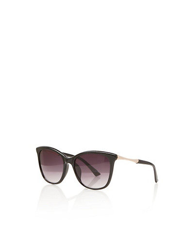 Sunglasses with Metallic Textural Arm Accents,BLACK,large