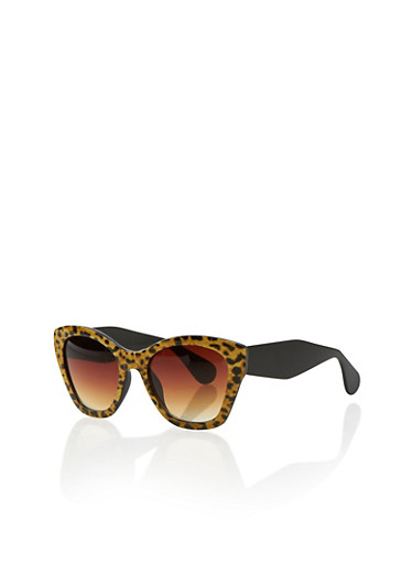 Leopard Print Cat Eye Sunglasses,LEOPARD PRINT,large