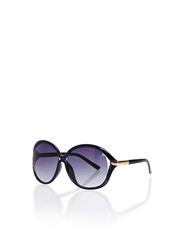 Oversized Sunglasses with Cutout Detail,BLACK/COLOR LENS,large