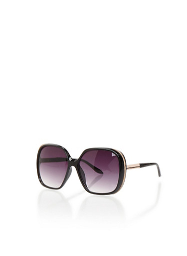 Square Sunglasses with Side Metallic Accents,BLACK/GOLD,large
