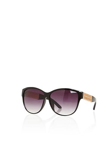 Metallic Lasercut Temple Sunglasses,BLACK,large