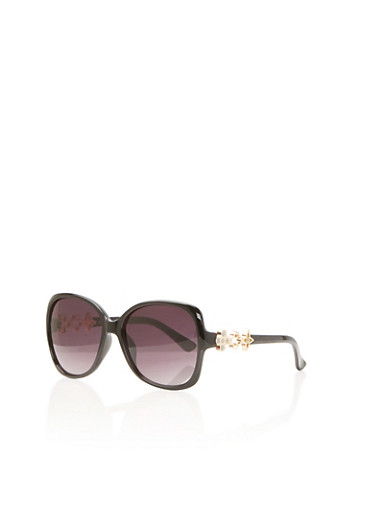 Square Sunglasses with Holographic Glitter Fleurs,BLACK,large