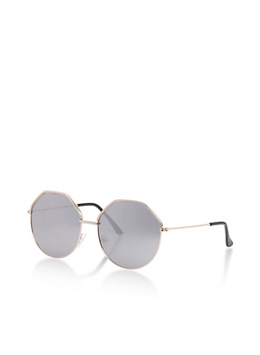 Geometric Sunglasses with Mirrored Lens,SILVER,large