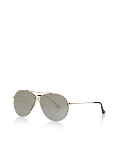 Criss Cross Metal Sunglasses with Mirrored Lens,SILVER,large