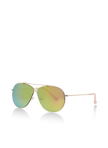 Criss Cross Metal Sunglasses with Mirrored Lens,PINK,large