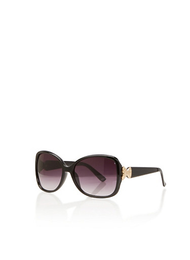 Square Sunglasses with Metallic Bow Accents,BLACK,large