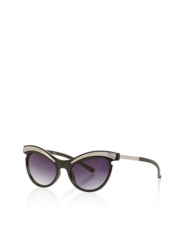 Cat Eye Sunglasses with Metallic Brow,BLACK/SILVER,large