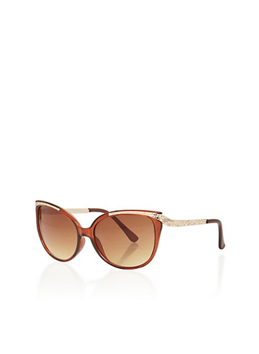 Cat Eye Sunglasses with Metallic Embossed Temples,BROWN,large