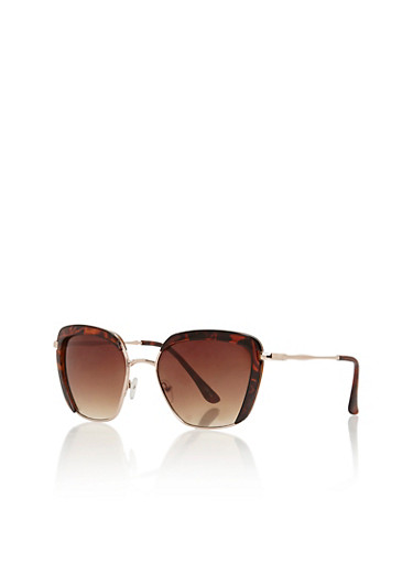 Cat Eye Aviator Sunglasses with Contrast Trim,TORT/GOLD,large