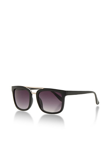 Square Metal Top Bar Sunglasses,BLACK,large