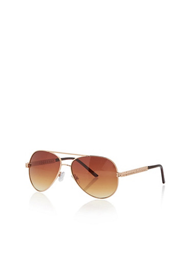 Aviator Sunglasses with Metal Heart Arms,GOLD,large