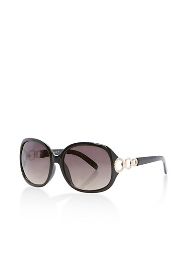 Metallic Side Links Sunglasses,BLACK,large