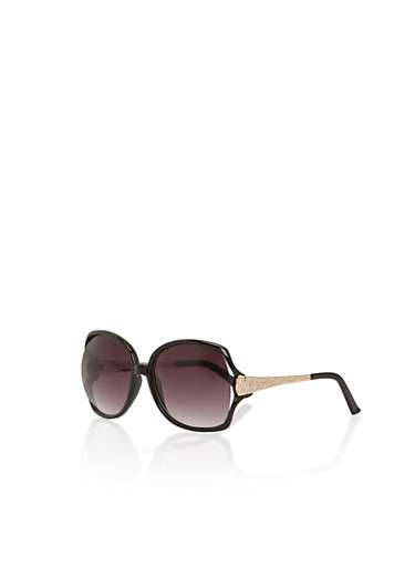 Square Sunglasses with Colored Frames and Hammered Sides,BLACK,large