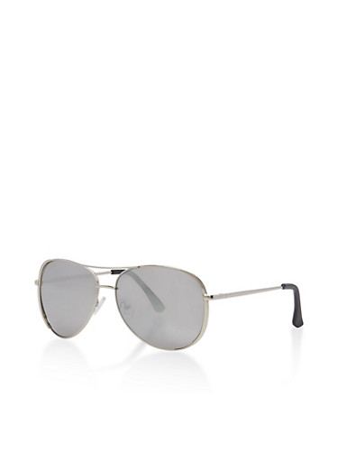 Mirrored Metallic Aviator Sunglasses,SILVER,large