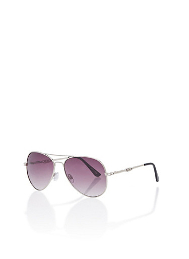 Metallic Aviator Sunglasses,SILVER,large