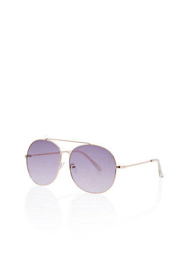 Large Top Bar Square Sunglasses,LILAC/GOLD,large