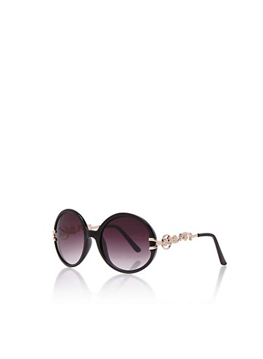 Two-Tone Round Sunglasses with Goldtone Floral Arms,BLACK,large