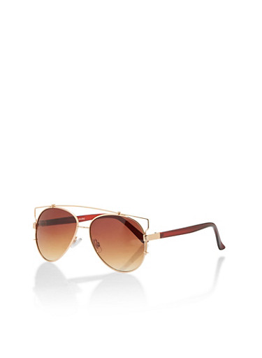 Aviator Sunglasses with Colored Arms,BROWN,large