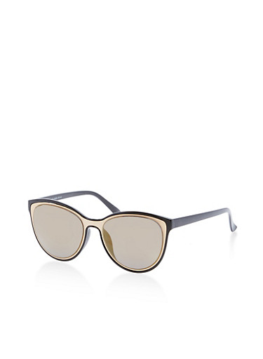 Metallic Insert Cateye Sunglasses,BLACK,large