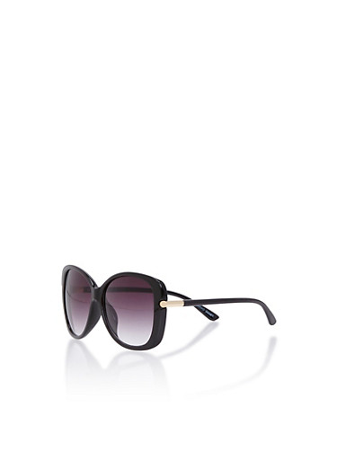 Square Sunglasses with Metallic Arm Accents,BLACK,large