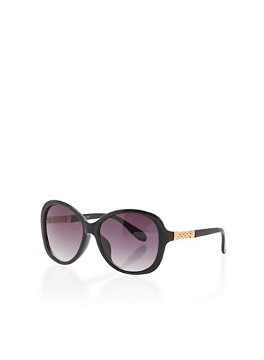 Round Sunglasses with Woven Metal Arms,BLACK,large
