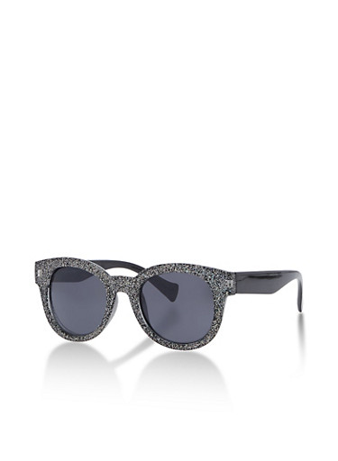 Plastic Glitter Sunglasses,GLITTER BLACK,large