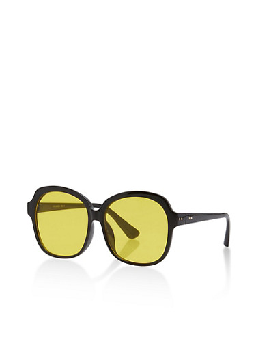 Large Plastic Colored Lens Sunglasses,BLACK/YELLOW,large