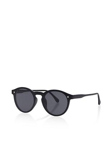 Round Mirrored Sunglasses,BLACK,large