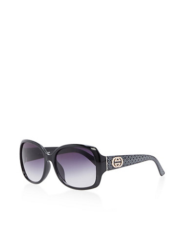 Square Sunglasses with Printed Detail,BLACK,large