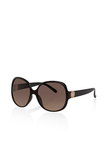 Plastic Square Sunglasses,BLACK,large