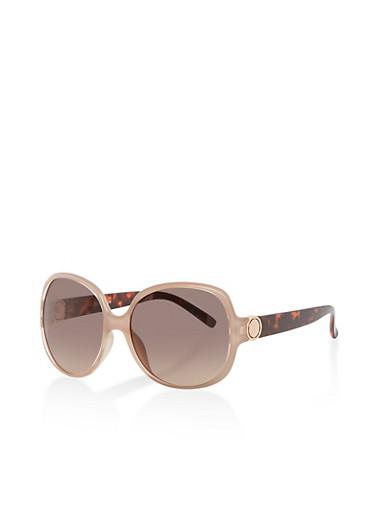Plastic Square Sunglasses,TAUPE,large